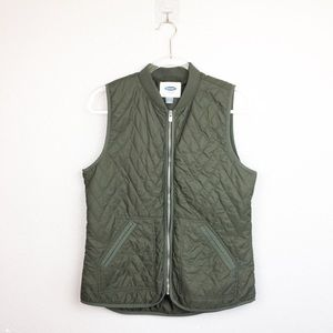 • OLD NAVY • Olive Green Quilted Vest Sz M